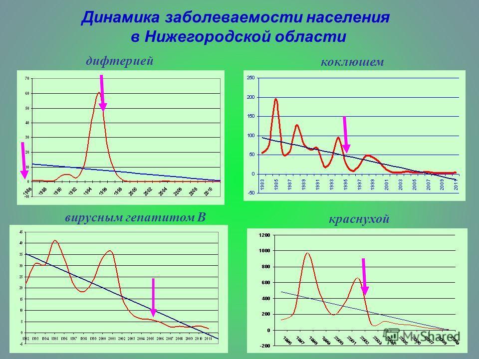 дифтерией коклюшем вирусным гепатитом В краснухой Динамика заболеваемости населения в Нижегородской области