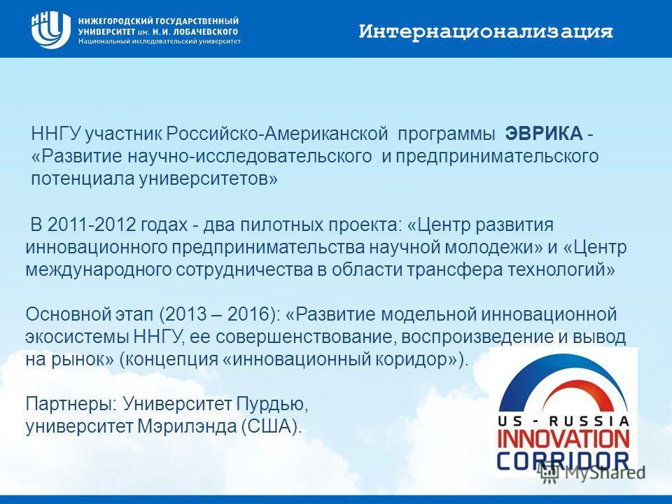 ННГУ участник Российско-Американской программы ЭВРИКА - «Развитие научно-исследовательского и предпринимательского потенциала университетов» В 2011-2012 годах - два пилотных проекта: «Центр развития инновационного предпринимательства научной молодежи