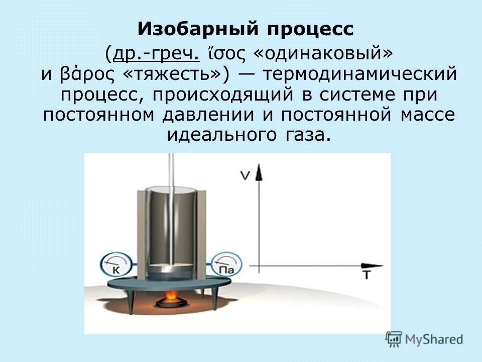 (др.-греч. σος «одинаковый» и βάρος «тяжесть») термодинамический процесс, происходящий в системе при постоянном давлении и постоянной массе идеального газа.