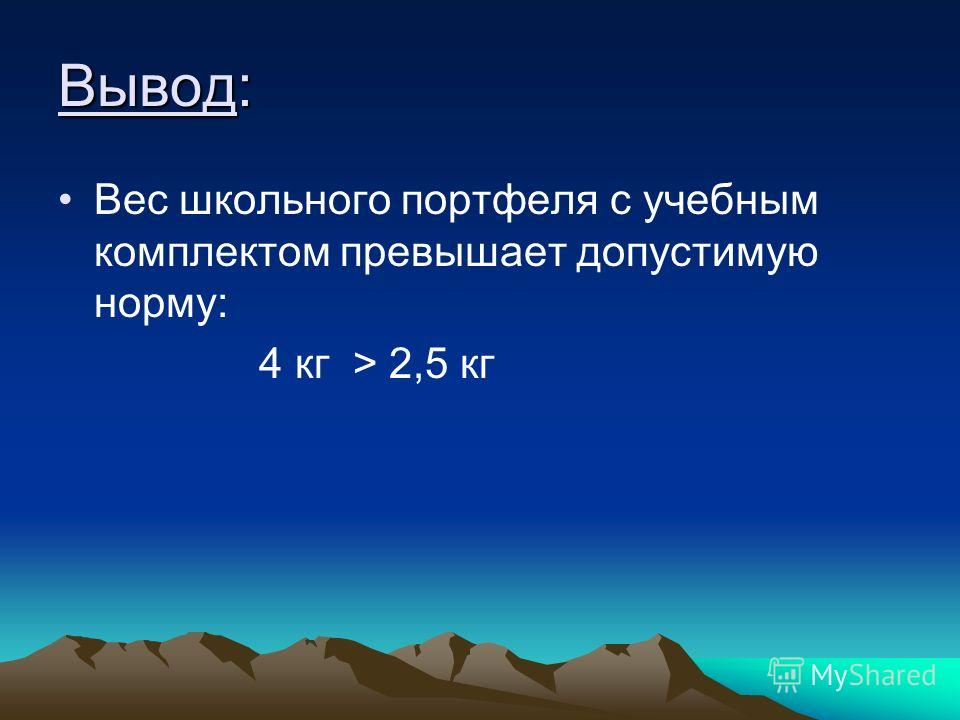 Вывод: Вес школьного портфеля с учебным комплектом превышает допустимую норму: 4 кг > 2,5 кг