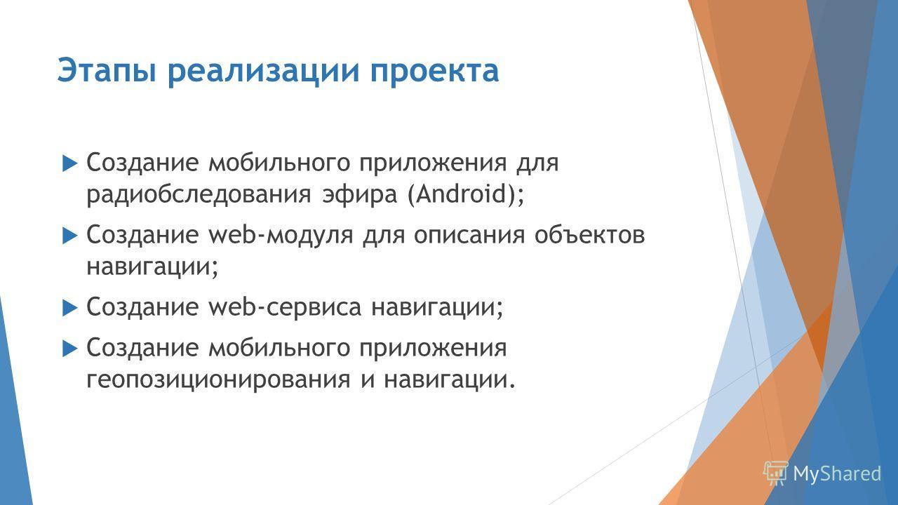 Этапы реализации проекта Создание мобильного приложения для радиобследования эфира (Android); Создание web-модуля для описания объектов навигации; Создание web-сервиса навигации; Создание мобильного приложения геопозиционирования и навигации.