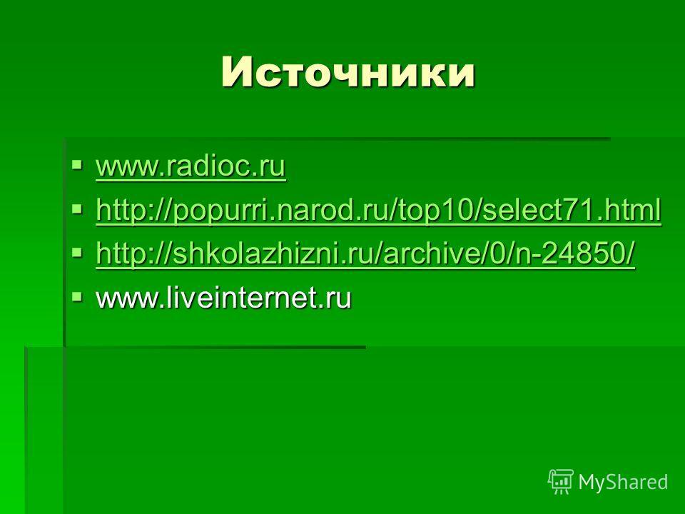 Источники www.radioc.ru www.radioc.ru www.radioc.ru http://popurri.narod.ru/top10/select71.html http://popurri.narod.ru/top10/select71.html http://popurri.narod.ru/top10/select71.html http://shkolazhizni.ru/archive/0/n-24850/ http://shkolazhizni.ru/a