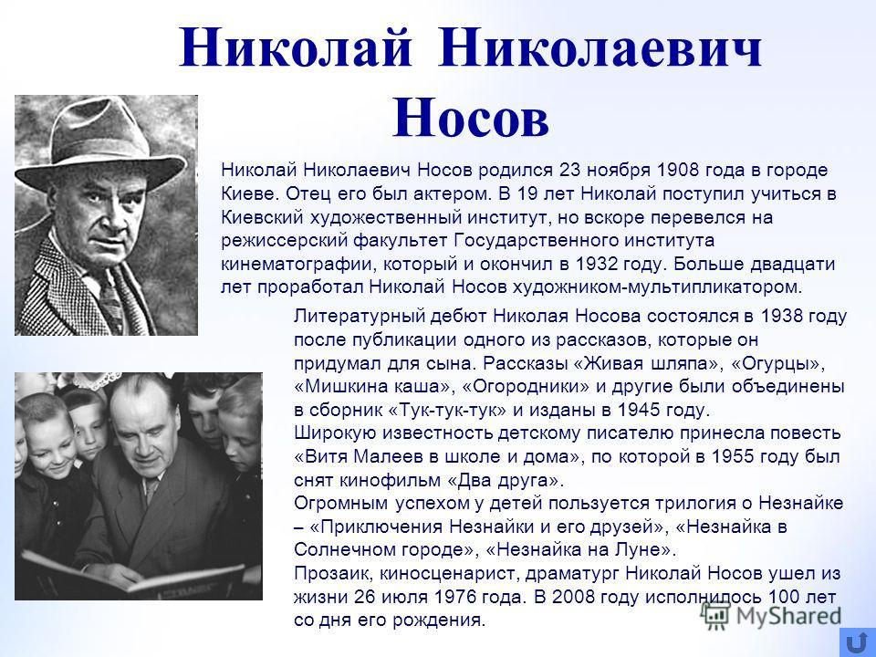Николай Николаевич Носов (1908 – 1976) Сведения о писателе Книжная полка Задания