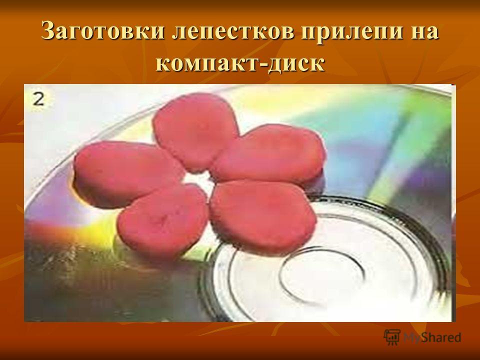Заготовки лепестков прилепи на компакт-диск