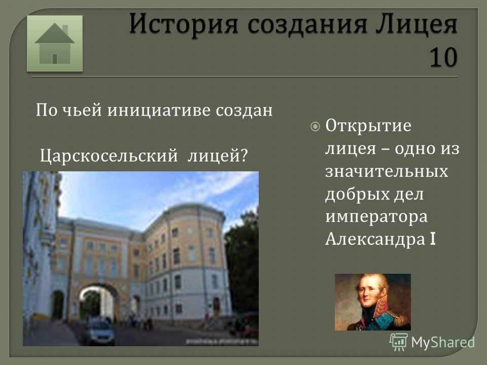 История создания Лицея Обучение Жизнь в Лицее Пушкин и Лицей