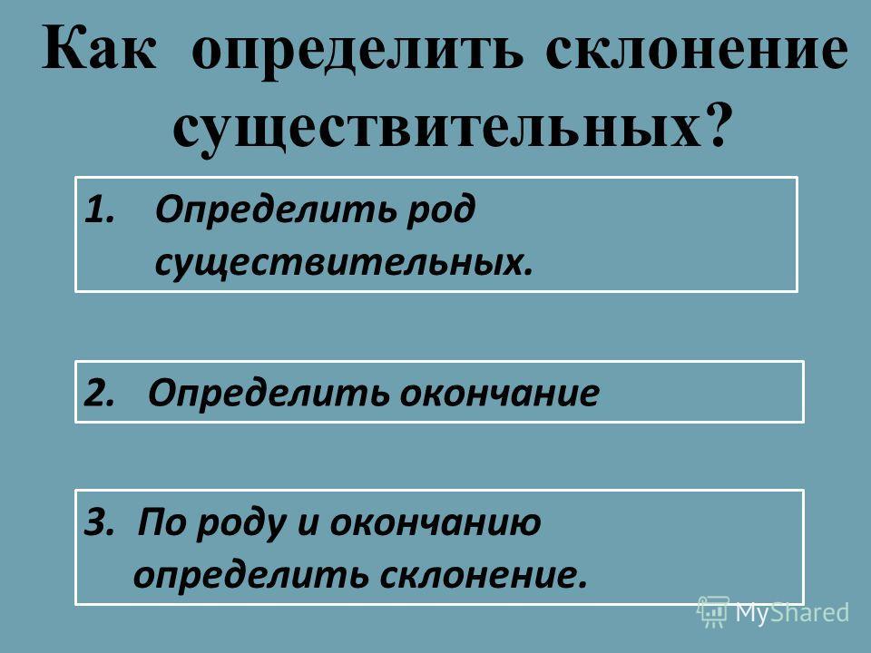 1.Определить род существительных. Как определить склонение существительных? 2. Определить окончание 3. По роду и окончанию определить склонение.