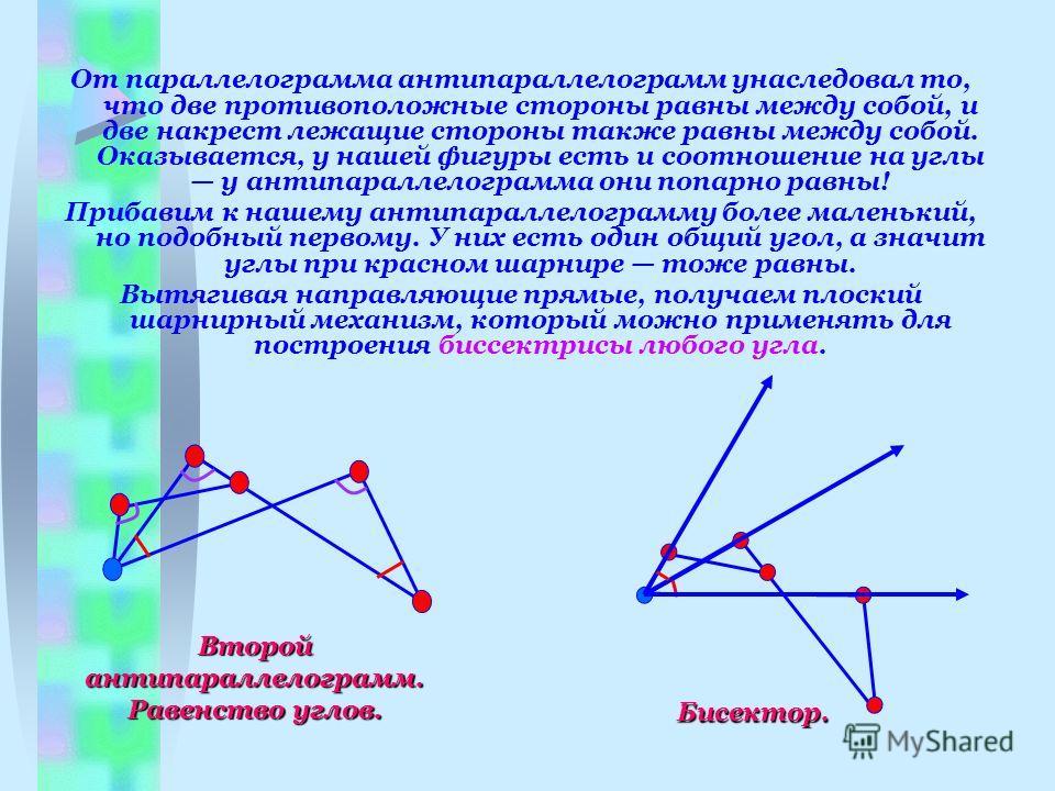 От параллелограмма антипараллелограмм унаследовал то, что две противоположные стороны равны между собой, и две накрест лежащие стороны также равны между собой. Оказывается, у нашей фигуры есть и соотношение на углы у антипараллелограмма они попарно р