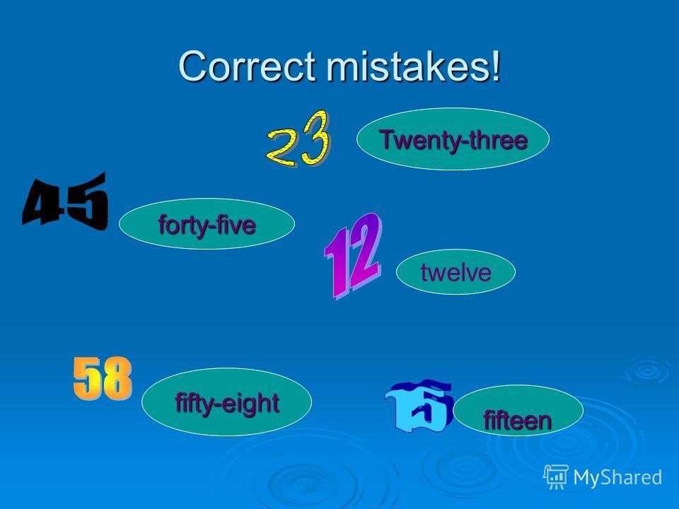 Correct mistakes! twenti three twenti three fourty-five fourty-five twelwe twelwe fivty- eight fifty fivty- eight fifty twelve Twenty-three forty-five fifty-eight fifteen