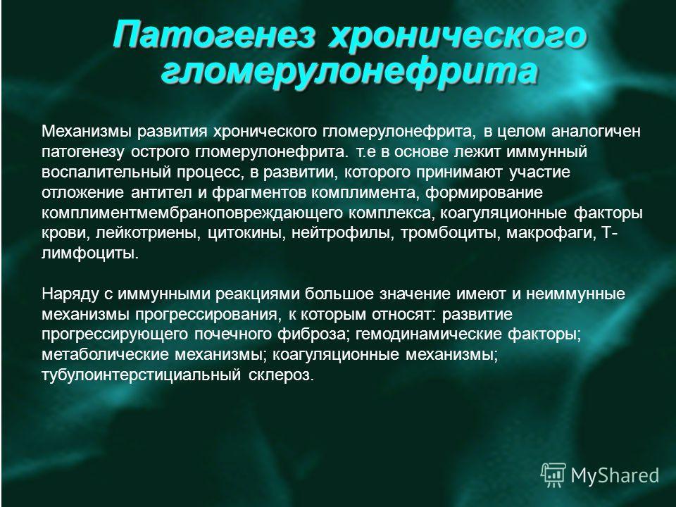 Патогенез хронического гломерулонефрита Механизмы развития хронического гломерулонефрита, в целом аналогичен патогенезу острого гломерулонефрита. т.е в основе лежит иммунный воспалительный процесс, в развитии, которого принимают участие отложение ант