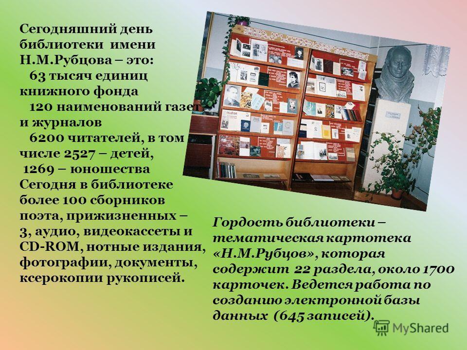 Сегодняшний день библиотеки имени Н.М.Рубцова – это: 63 тысяч единиц книжного фонда 120 наименований газет и журналов 6200 читателей, в том числе 2527 – детей, 1269 – юношества Сегодня в библиотеке более 100 сборников поэта, прижизненных – 3, аудио,