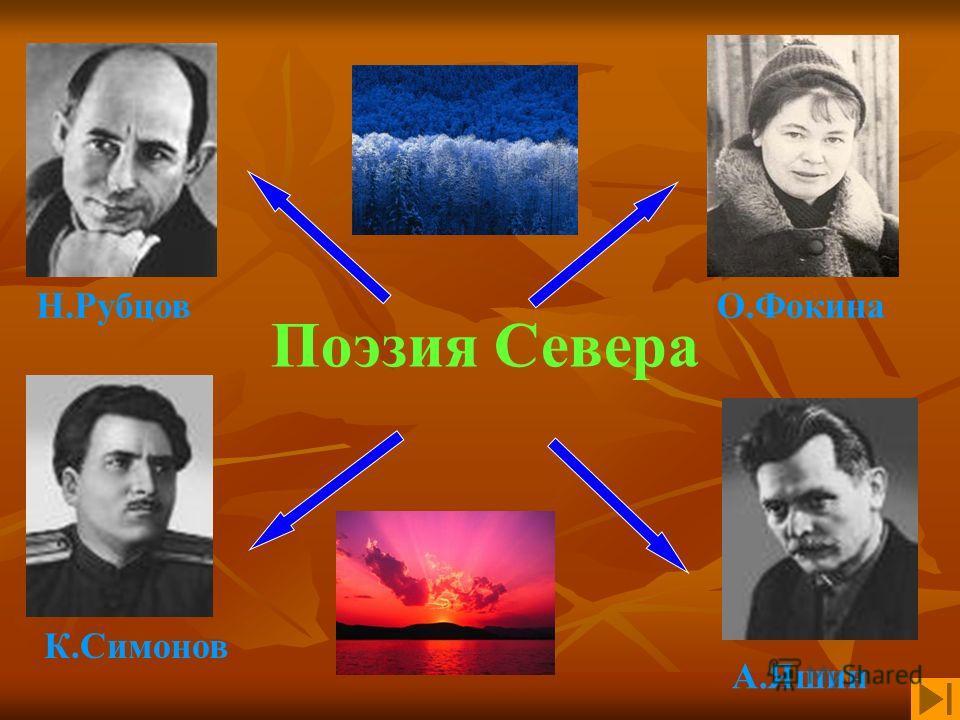 Поэзия Севера О.Фокина А.Яшин К.Симонов Н.Рубцов