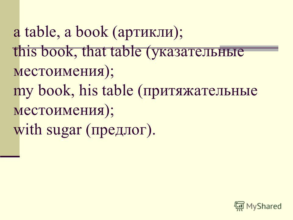 a table, a book (артикли); this book, that table (указательные местоимения); my book, his table (притяжательные местоимения); with sugar (предлог).