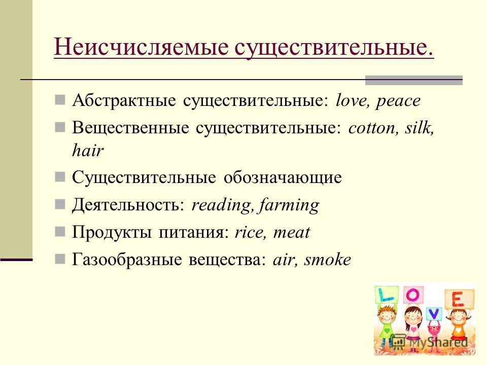 Неисчисляемые существительные. Абстрактные существительные: love, peace Вещественные существительные: cotton, silk, hair Cуществительные обозначающие Деятельность: reаding, farming Продукты питания: rice, meat Газообразные вещества: air, smoke