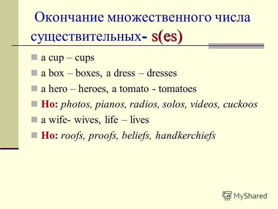 - s(es) Окончание множественного числа существительных - s(es) a cup – cups a box – boxes, a dress – dresses a hero – heroes, a tomato - tomatoes Но: photos, pianos, radios, solos, videos, cuckoos a wife- wives, life – lives Но: roofs, proofs, belief