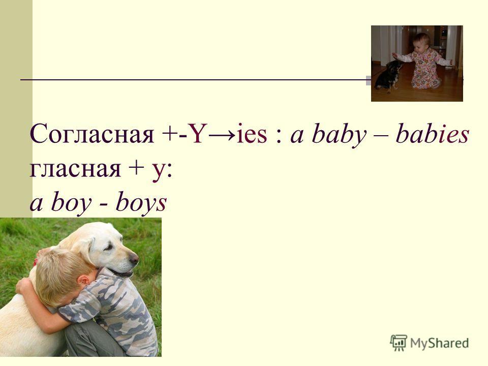 Согласная +-Yies : a baby – babies гласная + y: a boy - boys