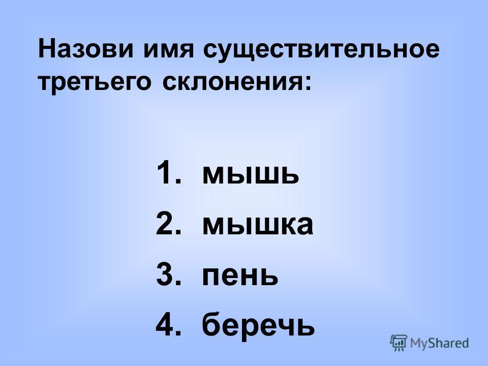 Назови имя существительное третьего склонения: 1. мышь 2. мышка 3. пень 4. беречь