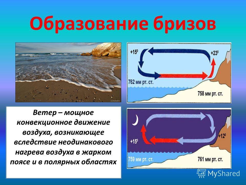 Образование бризов Ветер – мощное конвекционное движение воздуха, возникающее вследствие неодинакового нагрева воздуха в жарком поясе и в полярных областях