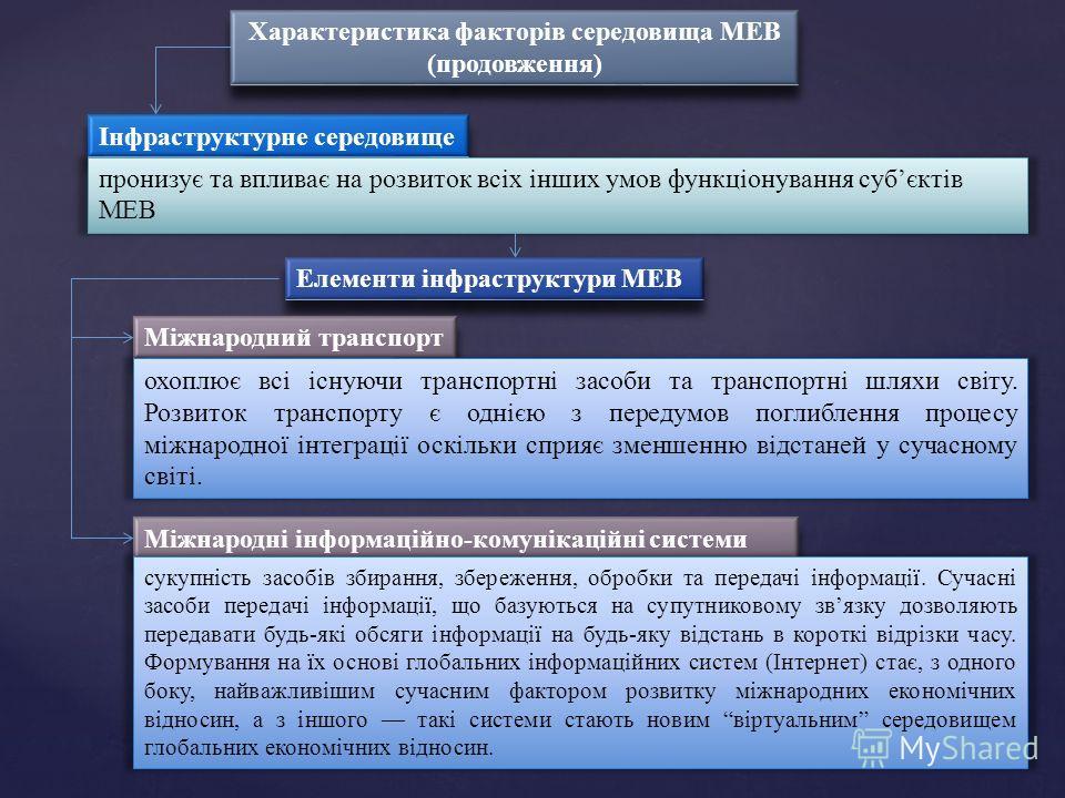 Характеристика факторів середовища МЕВ (продовження) Характеристика факторів середовища МЕВ (продовження) Інфраструктурне середовище пронизує та впливає на розвиток всіх інших умов функціонування субєктів МЕВ Елементи інфраструктури МЕВ Міжнародний т