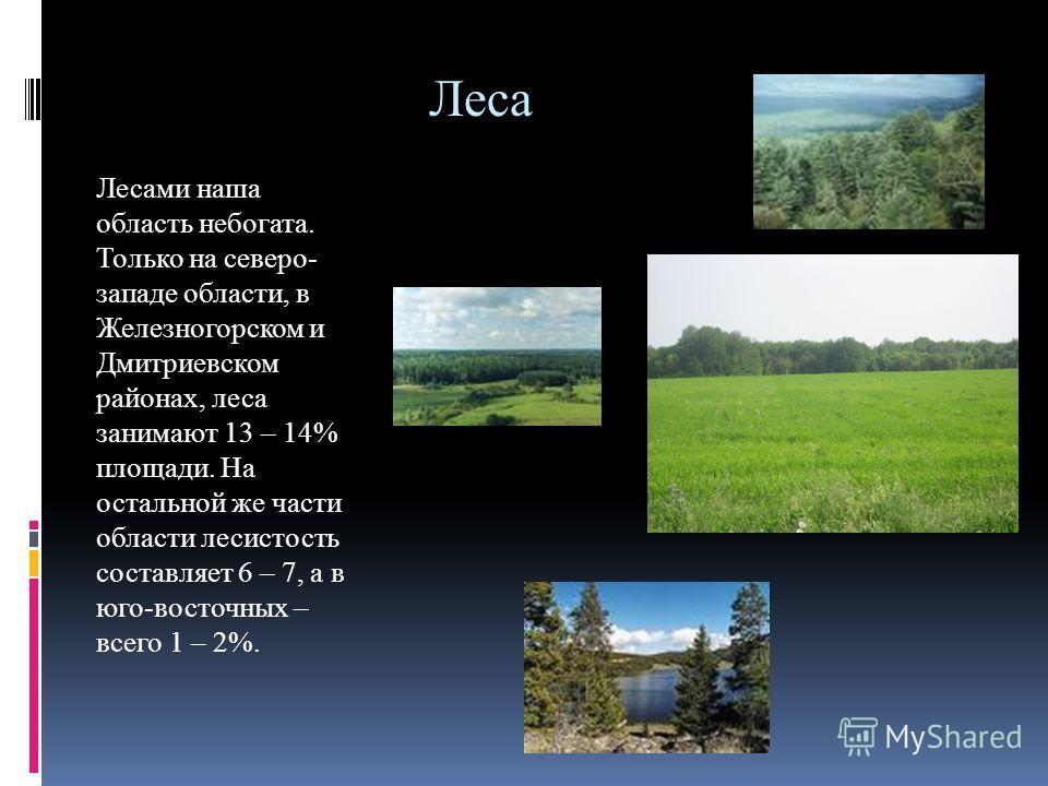 Леса Лесами наша область небогата. Только на северо- западе области, в Железногорском и Дмитриевском районах, леса занимают 13 – 14% площади. На остальной же части области лесистость составляет 6 – 7, а в юго-восточных – всего 1 – 2%.
