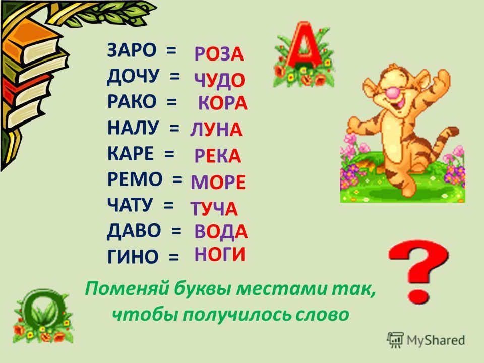 ЗАРО = ДОЧУ = РАКО = НАЛУ = КАРЕ = РЕМО = ЧАТУ = ДАВО = ГИНО = РОЗАРОЗА ЧУДОЧУДО КОРАКОРА ЛУНАЛУНА РЕКАРЕКА МОРЕМОРЕ ТУЧАТУЧА ВОДАВОДА НОГИНОГИ Поменяй буквы местами так, чтобы получилось слово