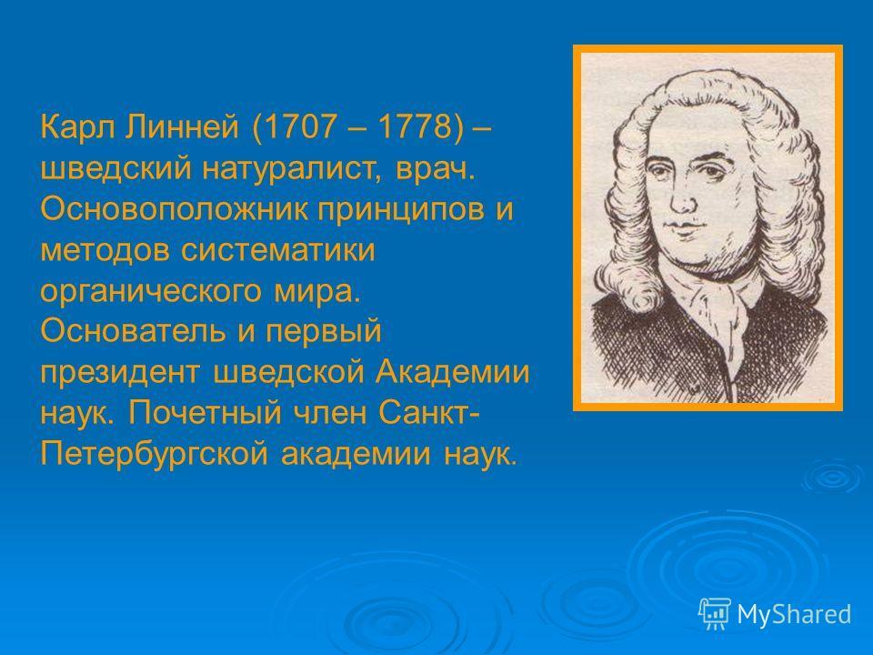 Карл Линней (1707 – 1778) – шведский натуралист, врач. Основоположник принципов и методов систематики органического мира. Основатель и первый президент шведской Академии наук. Почетный член Санкт- Петербургской академии наук.