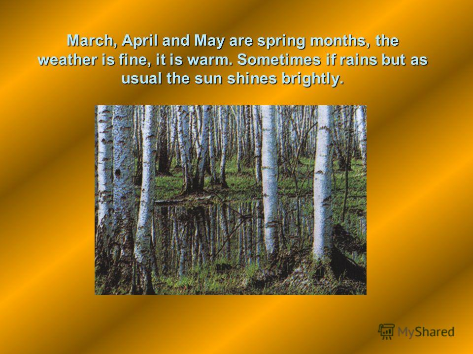 March, April and May are spring months, the weather is fine, it is warm. Sometimes if rains but as usual the sun shines brightly.