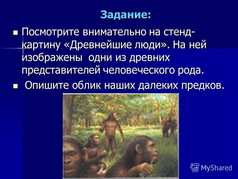 Задание: Посмотрите внимательно на стенд- картину «Древнейшие люди». На ней изображены одни из древних представителей человеческого рода. Посмотрите внимательно на стенд- картину «Древнейшие люди». На ней изображены одни из древних представителей чел