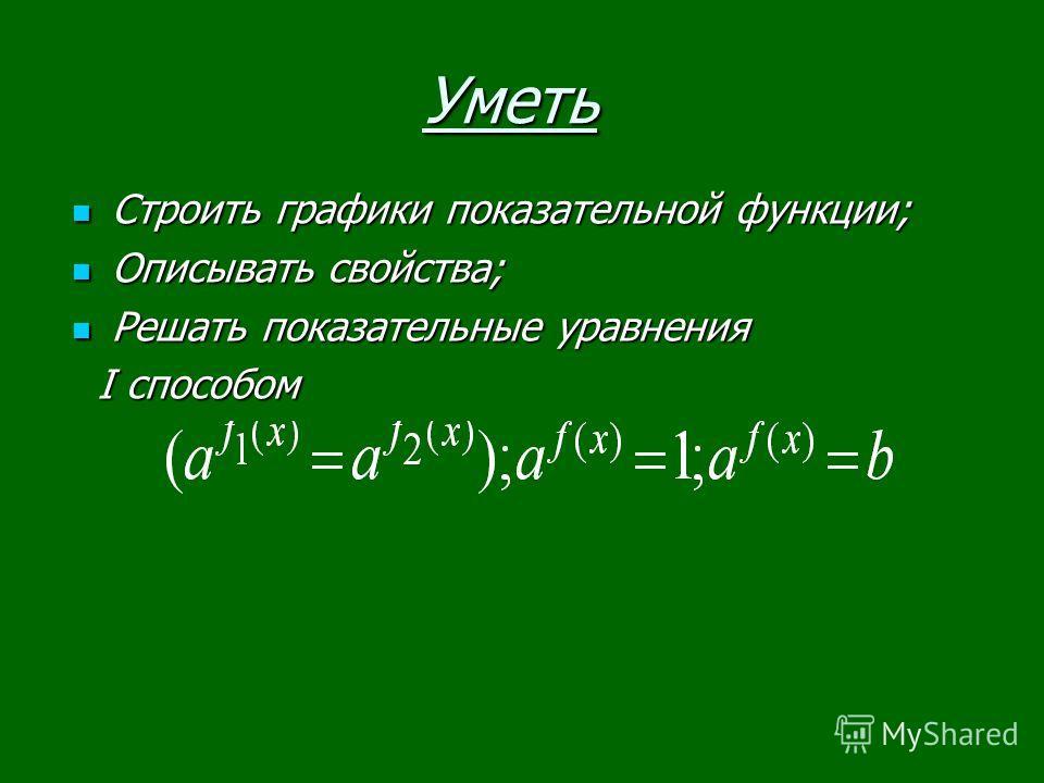 Уметь Строить графики показательной функции; Строить графики показательной функции; Описывать свойства; Описывать свойства; Решать показательные уравнения Решать показательные уравнения I способом I способом