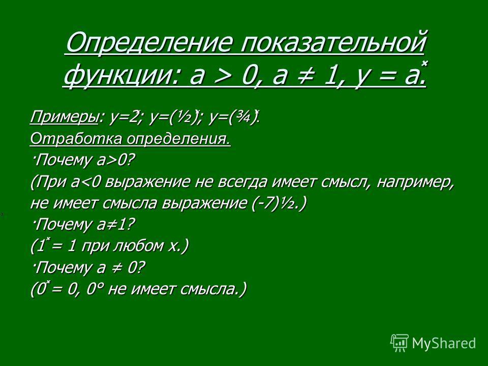Определение показательной функции: a > 0, а 1, у = а̽. Примеры: y=2 ̽ ; y=(½) ̽ ; y=(¾) ̽. Отработка определения. ·Почему а>0? (При а