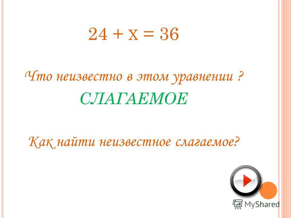 24 + Х = 36 Что неизвестно в этом уравнении ? СЛАГАЕМОЕ Как найти неизвестное слагаемое?