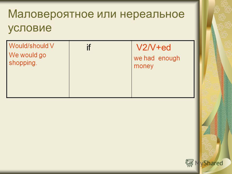 Маловероятное или нереальное условие Would/should V We would go shopping. if V2/V+ed we had enough money