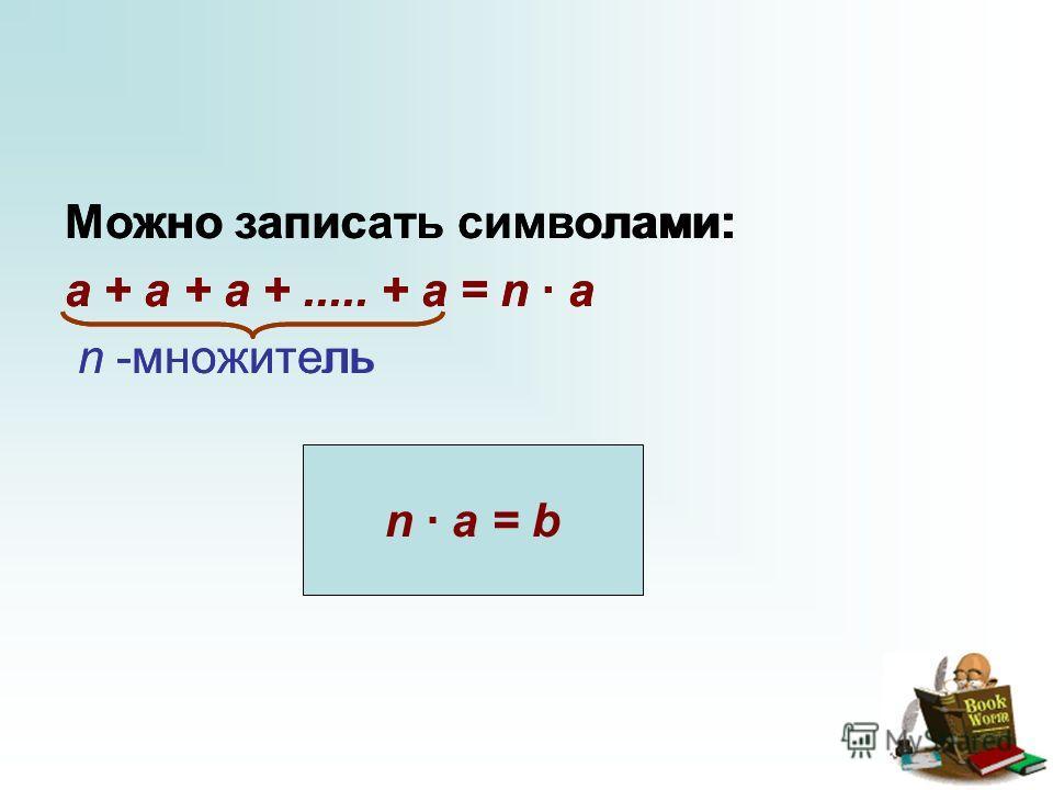 Можно записать символами: a + a + a +..... + a = n · a n -множитель n · a = b Можно записать символами: a + a + a +..... + a = n · a n -множитель