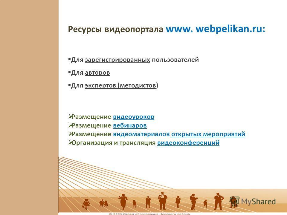 Ресурсы видеопортала www. webpelikan.ru: Для зарегистрированных пользователей Для авторов Для экспертов (методистов) Размещение видеоуроков Размещение вебинаров Размещение видеоматериалов открытых мероприятий Организация и трансляция видеоконференций