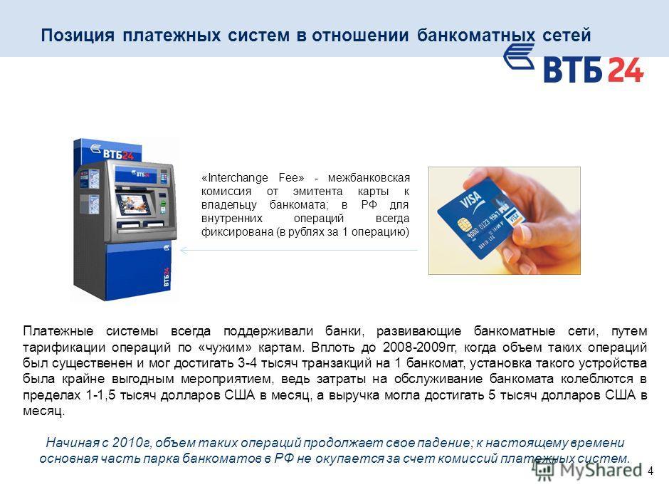 4 Позиция платежных систем в отношении банкоматных сетей «Interchange Fee» - межбанковская комиссия от эмитента карты к владельцу банкомата; в РФ для внутренних операций всегда фиксирована (в рублях за 1 операцию) Платежные системы всегда поддерживал