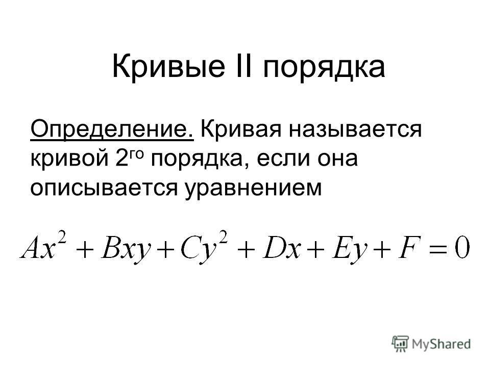 Кривые II порядка Определение. Кривая называется кривой 2 го порядка, если она описывается уравнением