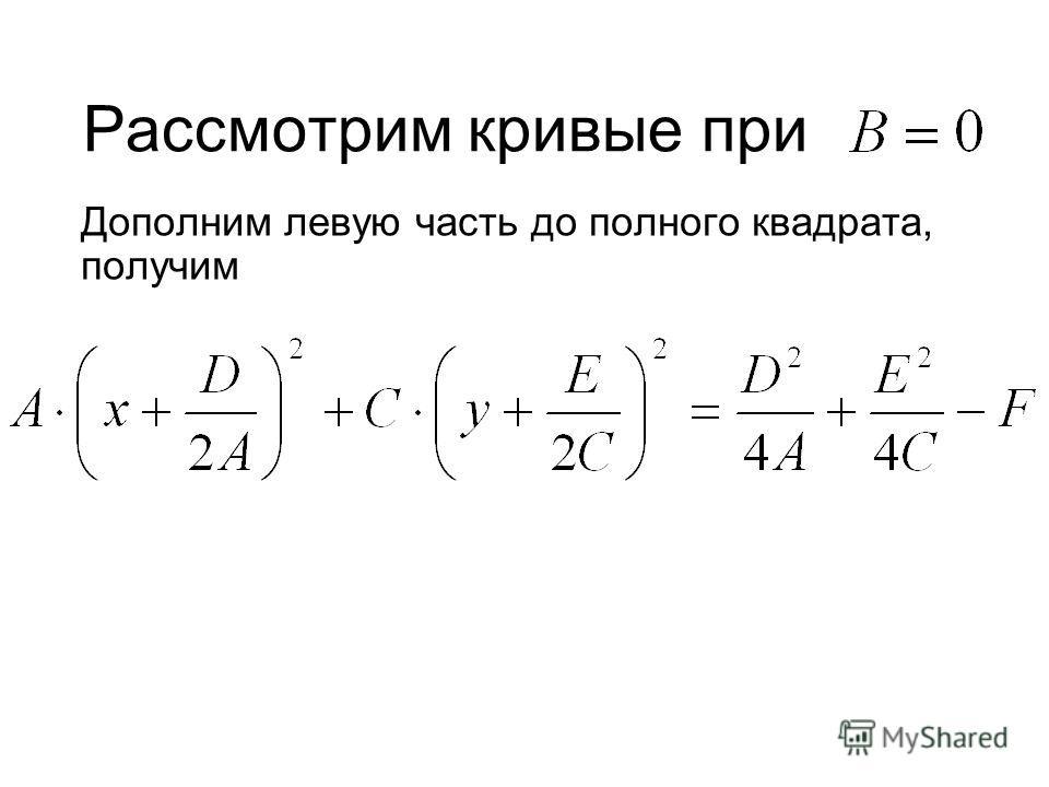 Рассмотрим кривые при Дополним левую часть до полного квадрата, получим