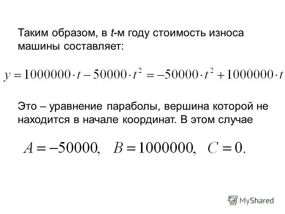 Таким образом, в t-м году стоимость износа машины составляет: Это – уравнение параболы, вершина которой не находится в начале координат. В этом случае