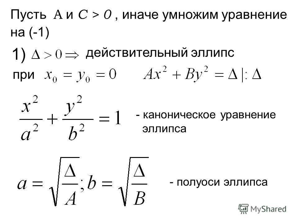 Пусть А и С > 0, иначе умножим уравнение на (-1) - каноническое уравнение оэллипса - полуоси эллипса 1) действительный эллипс при