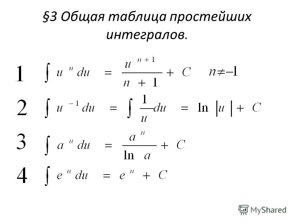 §3 Общая таблица простейших интегралов.