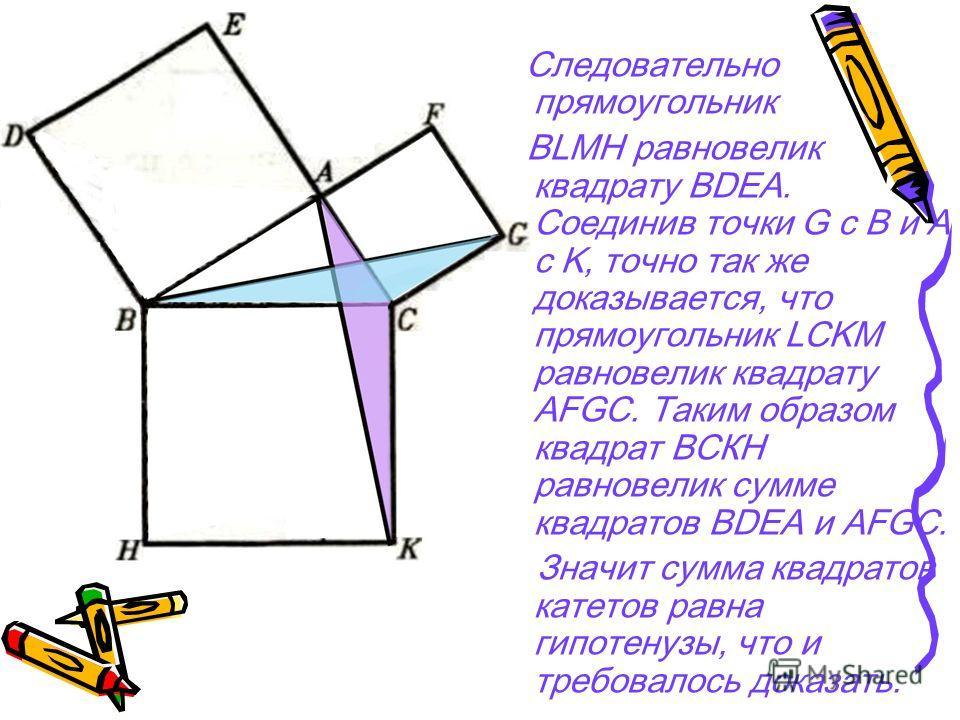 Следовательно прямоугольник BLMH равновелик квадрату BDEA. Соединив точки G с B и A с K, точно так же доказывается, что прямоугольник LCKM равновелик квадрату AFGC. Таким образом квадрат ВСКН равновелик сумме квадратов BDEA и AFGC. Значит сумма квадр