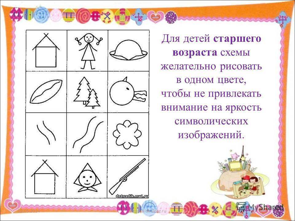 02.05.2014http://aida.ucoz.ru8 Для детей старшего возраста схемы желательно рисовать в одном цвете, чтобы не привлекать внимание на яркость символических изображений.
