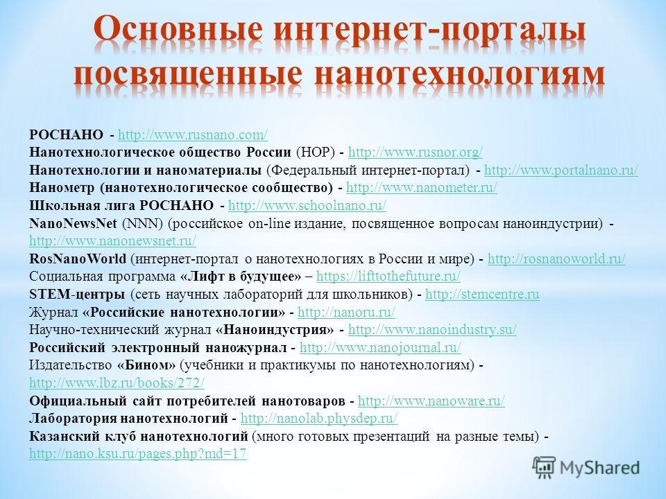 РОСНАНО - http://www.rusnano.com/http://www.rusnano.com/ Нанотехнологическое общество России (НОР) - http://www.rusnor.org/http://www.rusnor.org/ Нанотехнологии и наноматериалы (Федеральный интернет-портал) - http://www.portalnano.ru/http://www.porta