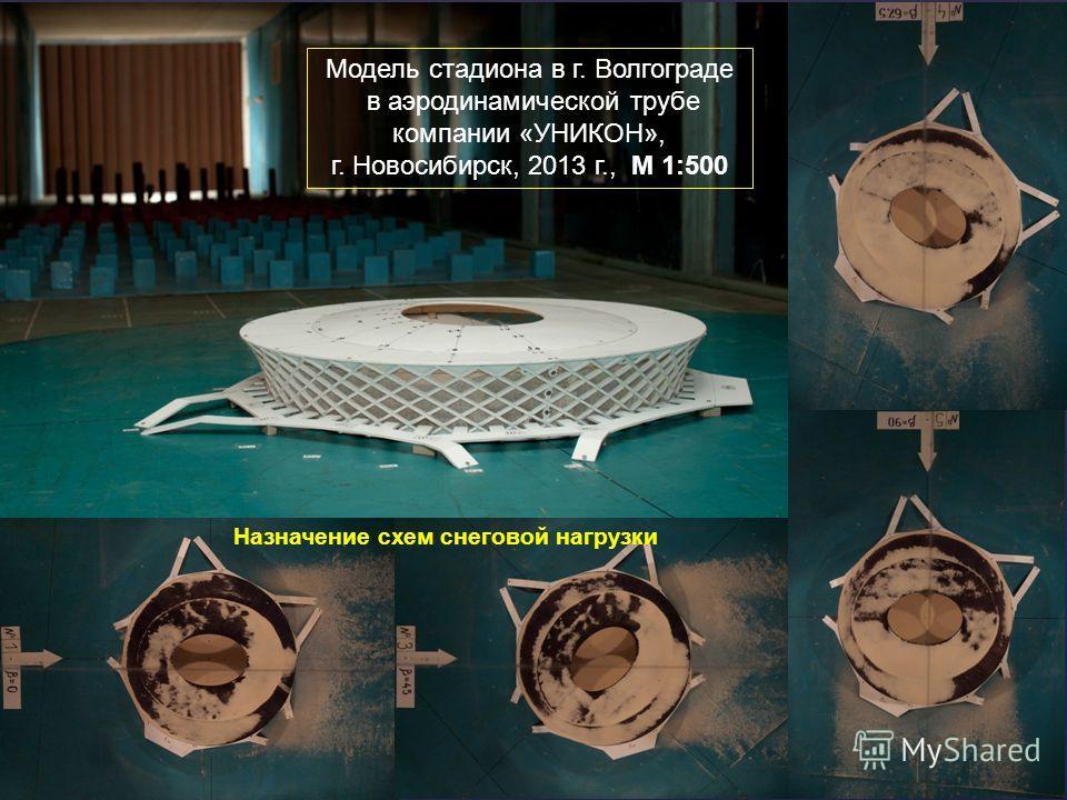 Модель стадиона в г. Волгограде в аэродинамической трубе компании «УНИКОН», г. Новосибирск, 2013 г., М 1:500 Назначение схем снеговой нагрузки