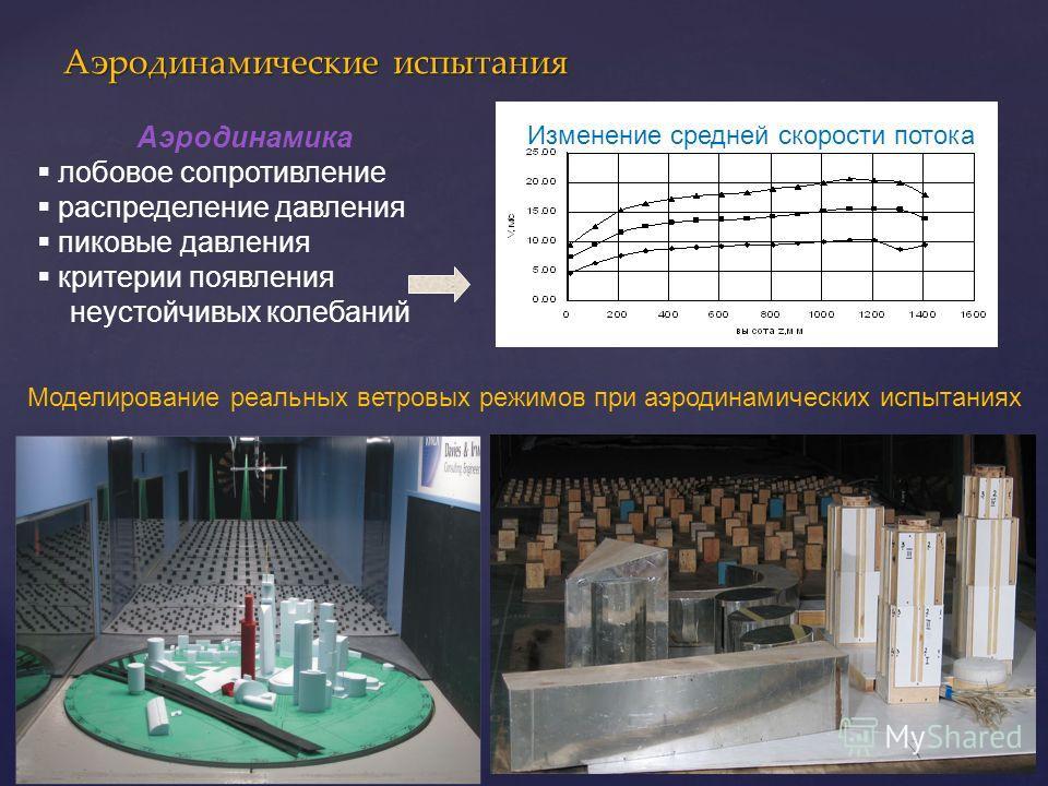 Аэродинамические испытания Аэродинамика лобовое сопротивление распределение давления пиковые давления критерии появления неустойчивых колебаний Моделирование реальных ветровых режимов при аэродинамических испытаниях Изменение средней скорости потока