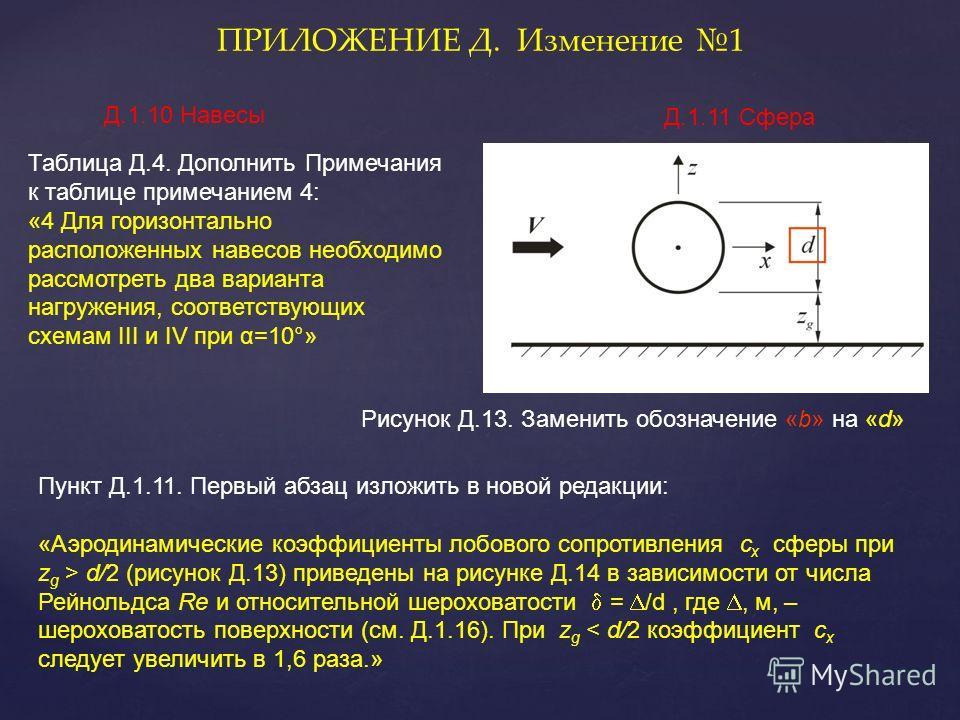 Таблица Д.4. Дополнить Примечания к таблице примечанием 4: «4 Для горизонтально расположенных навесов необходимо рассмотреть два варианта нагружения, соответствующих схемам III и IV при α=10°» ПРИЛОЖЕНИЕ Д. Изменение 1 Рисунок Д.13. Заменить обозначе