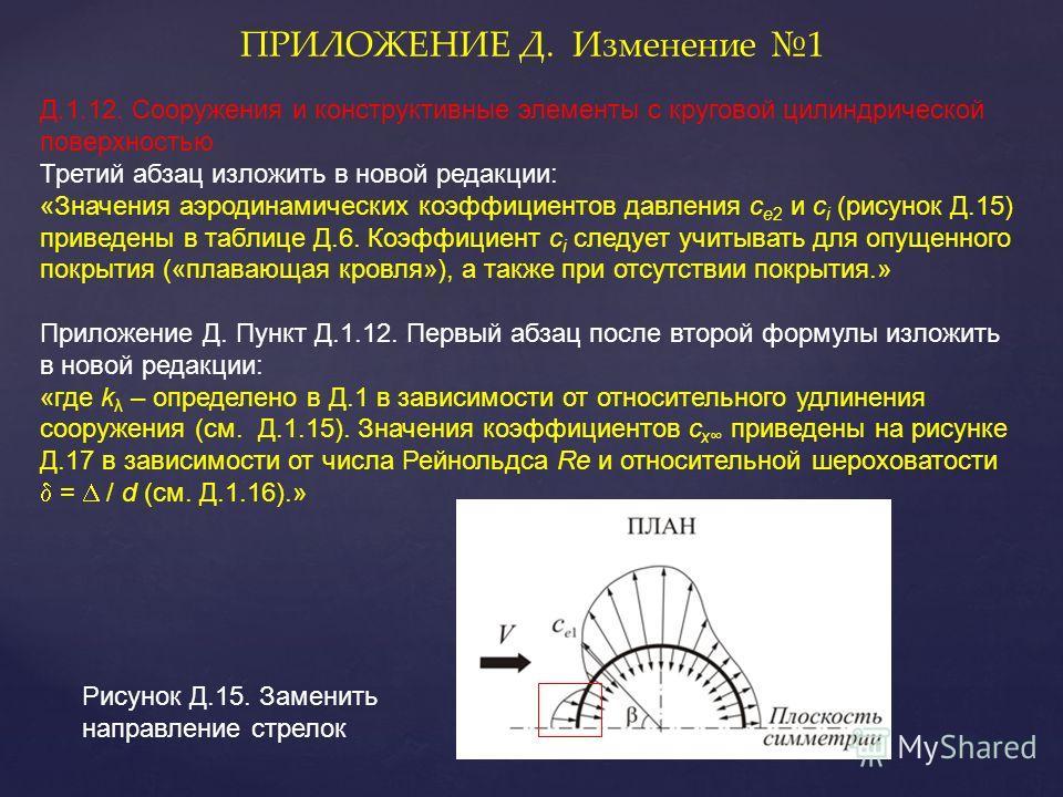 ПРИЛОЖЕНИЕ Д. Изменение 1 Д.1.12. Сооружения и конструктивные элементы с круговой цилиндрической поверхностью Третий абзац изложить в новой редакции: «Значения аэродинамических коэффициентов давления с e2 и c i (рисунок Д.15) приведены в таблице Д.6.