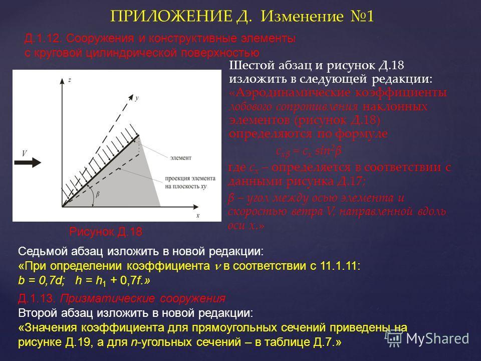 Шестой абзац и рисунок Д.18 изложить в следующей редакции: «Аэродинамические коэффициенты лобового сопротивления наклонных элементов (рисунок Д.18) определяются по формуле c xβ = c x sin 2 β где c x – определяется в соответствии с данными рисунка Д.1
