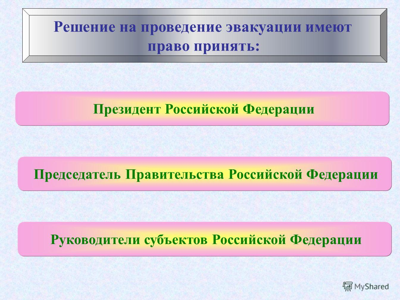 Решение на проведение эвакуации имеют право принять: Президент Российской Федерации Председатель Правительства Российской Федерации Руководители субъектов Российской Федерации