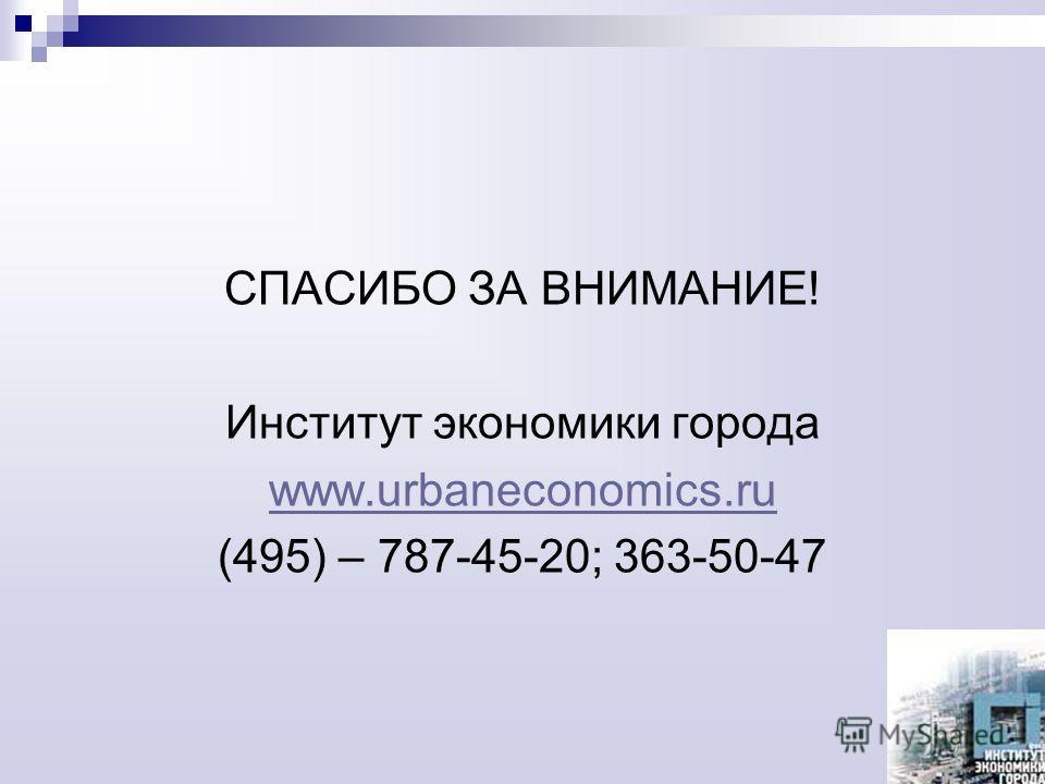 СПАСИБО ЗА ВНИМАНИЕ! Институт экономики города www.urbaneconomics.ru (495) – 787-45-20; 363-50-47