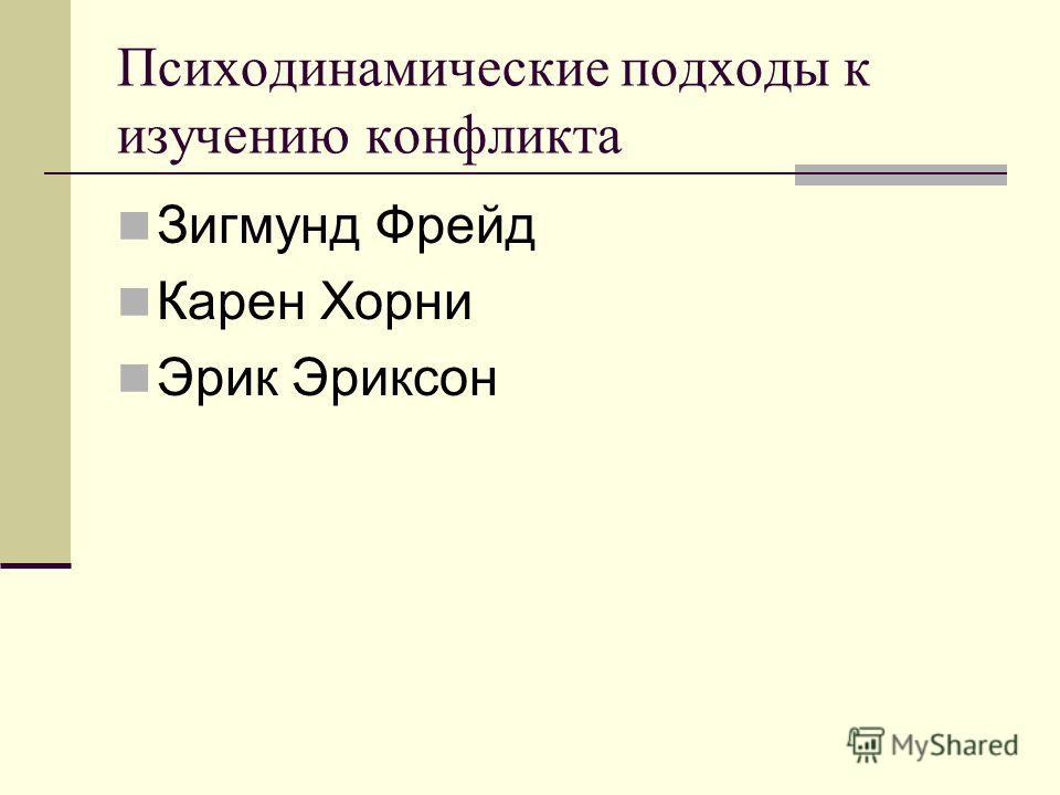 Психодинамические подходы к изучению конфликта Зигмунд Фрейд Карен Хорни Эрик Эриксон